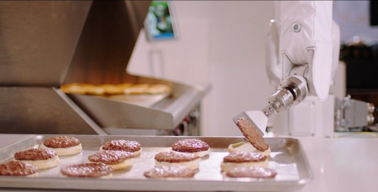 robot making burgers